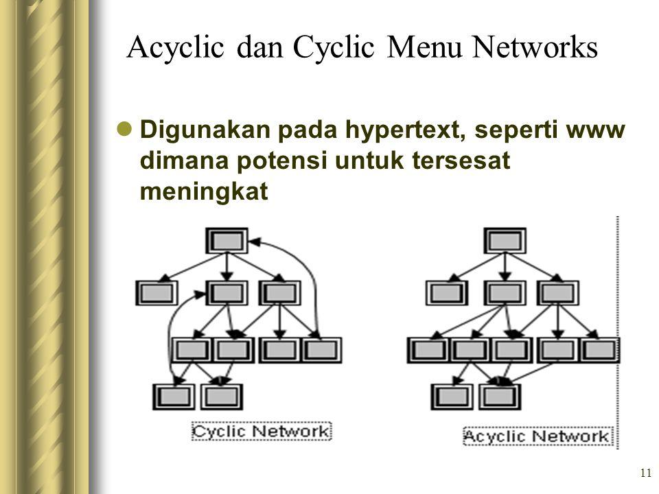 11 Acyclic dan Cyclic Menu Networks Digunakan pada hypertext, seperti www dimana potensi untuk tersesat meningkat