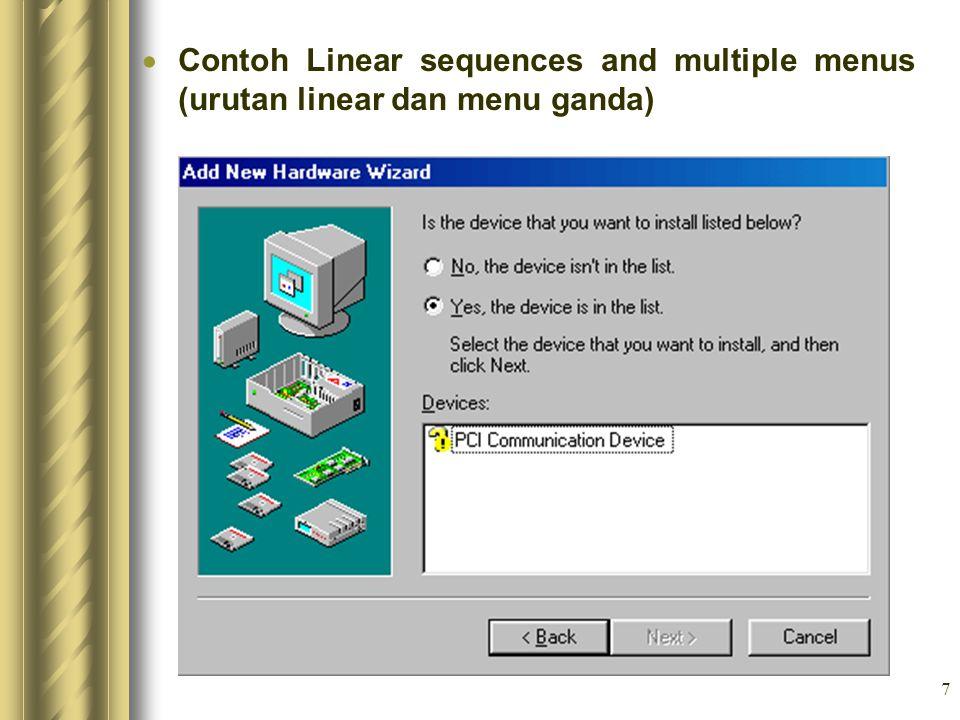 7  Contoh Linear sequences and multiple menus (urutan linear dan menu ganda)