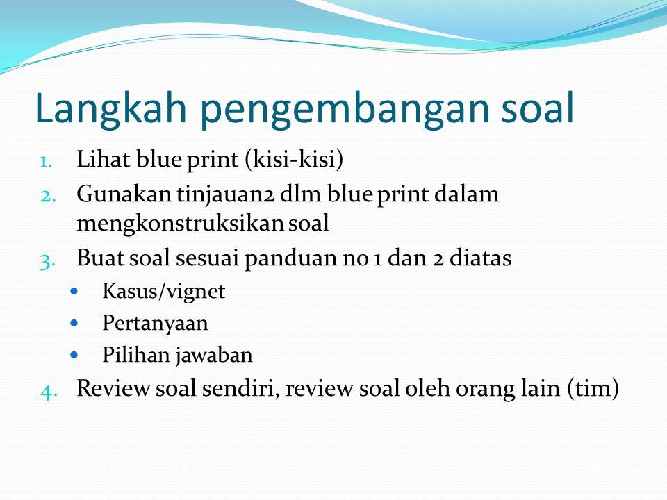 Langkah pengembangan soal 1.Lihat blue print (kisi-kisi) 2.