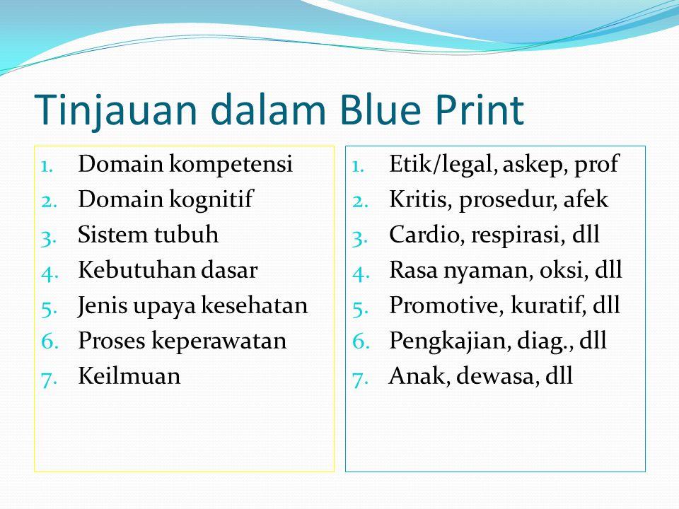 Tinjauan dalam Blue Print 1.Domain kompetensi 2. Domain kognitif 3.
