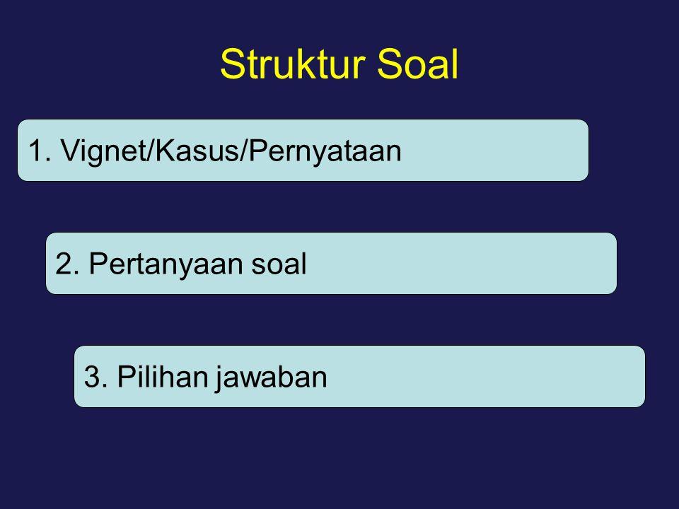 Struktur Soal 1. Vignet/Kasus/Pernyataan 2. Pertanyaan soal 3. Pilihan jawaban