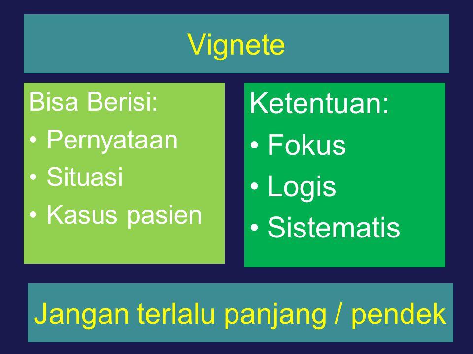 Vignete Bisa Berisi: Pernyataan Situasi Kasus pasien Ketentuan: Fokus Logis Sistematis Jangan terlalu panjang / pendek