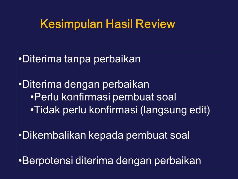 Kesimpulan Hasil Review Diterima tanpa perbaikan Diterima dengan perbaikan Perlu konfirmasi pembuat soal Tidak perlu konfirmasi (langsung edit) Dikembalikan kepada pembuat soal Berpotensi diterima dengan perbaikan