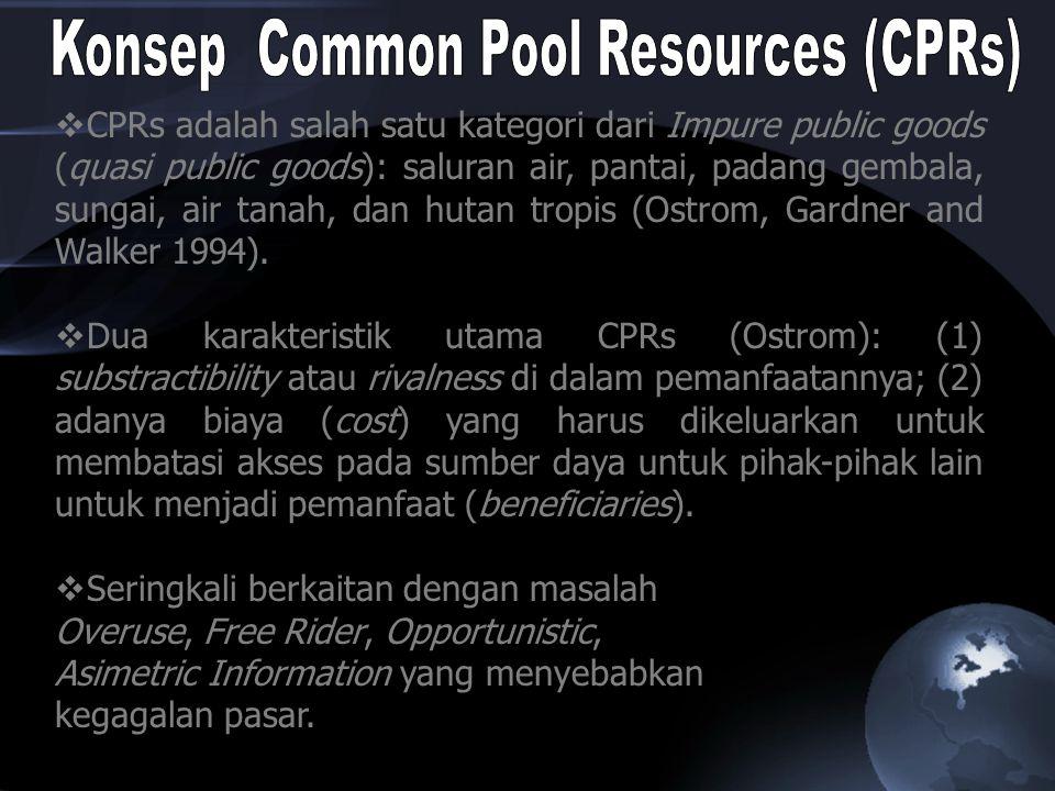  CPRs adalah salah satu kategori dari Impure public goods (quasi public goods): saluran air, pantai, padang gembala, sungai, air tanah, dan hutan tro