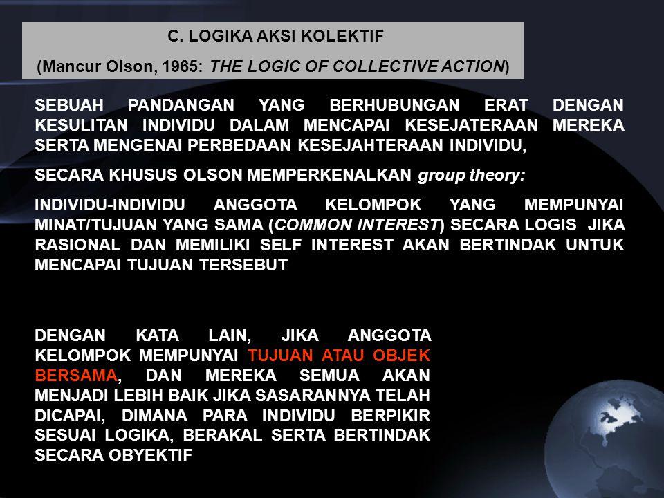 C. LOGIKA AKSI KOLEKTIF (Mancur Olson, 1965: THE LOGIC OF COLLECTIVE ACTION) SEBUAH PANDANGAN YANG BERHUBUNGAN ERAT DENGAN KESULITAN INDIVIDU DALAM ME