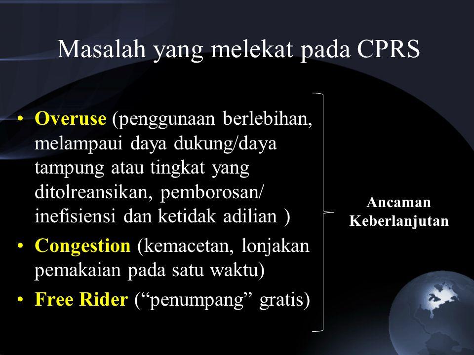Permasalahan Konseptual CPRs (1)Sistem pengelolaan (manajemen) (2)Hak penguasaan/kepemilikan Masalah Governance
