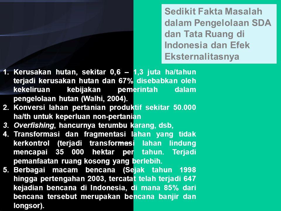 Sedikit Fakta Masalah dalam Pengelolaan SDA dan Tata Ruang di Indonesia dan Efek Eksternalitasnya 1.Kerusakan hutan, sekitar 0,6 – 1,3 juta ha/tahun t