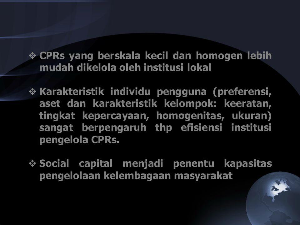  CPRs yang berskala kecil dan homogen lebih mudah dikelola oleh institusi lokal  Karakteristik individu pengguna (preferensi, aset dan karakteristik