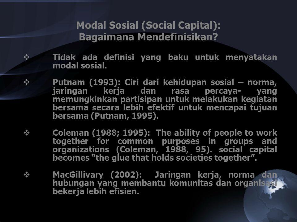  Tidak ada definisi yang baku untuk menyatakan modal sosial.  Putnam (1993): Ciri dari kehidupan sosial – norma, jaringan kerja dan rasa percaya- ya