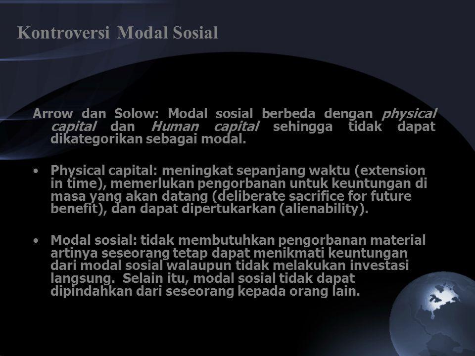 Social Capital Putnam (1993); Fukuyama (1995): Knack dan Keefer (1997) adalah: 1)jaringan pertemuan/dialog masyarakat (networks of civic engagement), 2)norma-norma yang saling berinteraksi/timbal balik (norms of generalized reciprocity), dan 3)social trust.