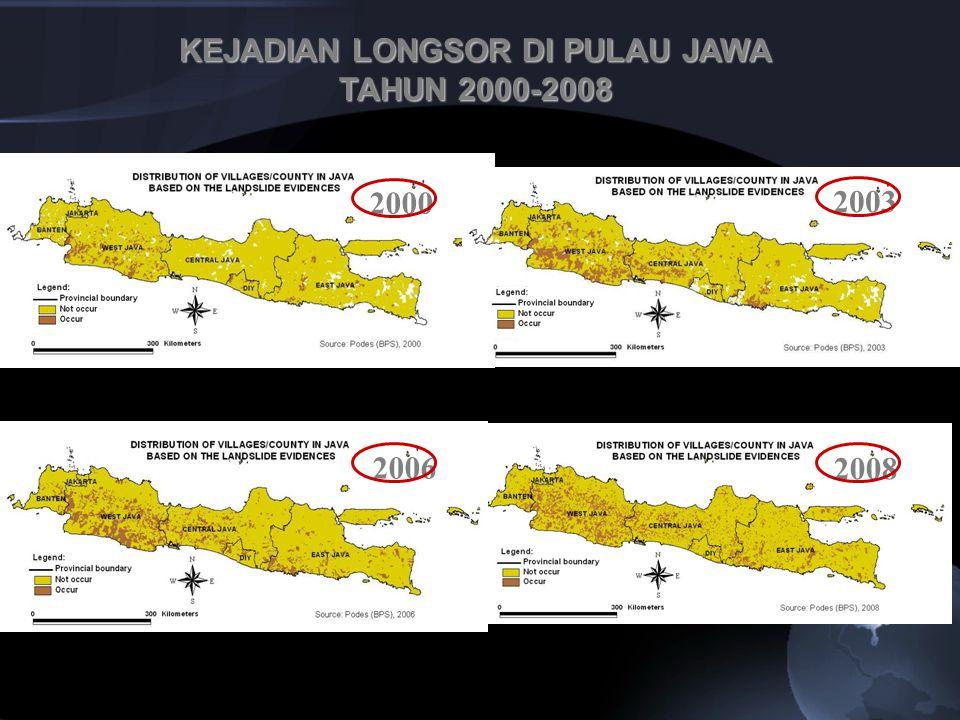Bencana banjir dan longsor di Pulau Jawa adalah bencana antropogenik (akibat ulah manusia) Akibat menurunnya fugsi lindung kawasan- kawasan lindung dan kawasan pertanian (Rustiadi et al., 2009) Tutupan hutan P Jawa hanya 14% (Tim P4W IPB, 2008).