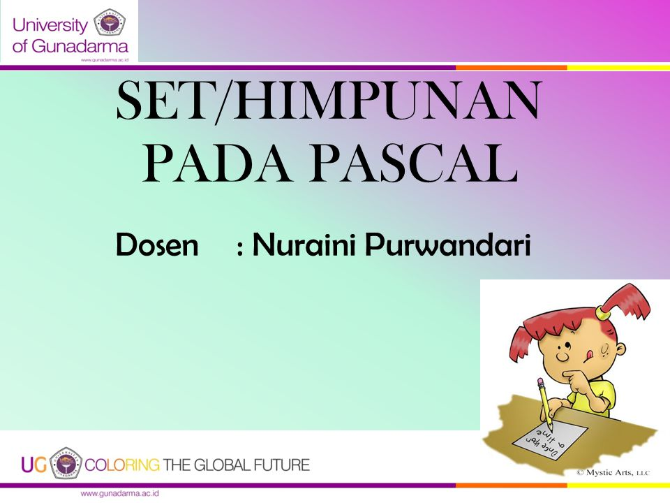 SET/HIMPUNAN PADA PASCAL Dosen : Nuraini Purwandari