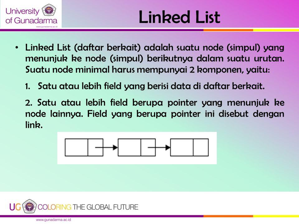 Linked List Linked List (daftar berkait) adalah suatu node (simpul) yang menunjuk ke node (simpul) berikutnya dalam suatu urutan. Suatu node minimal h