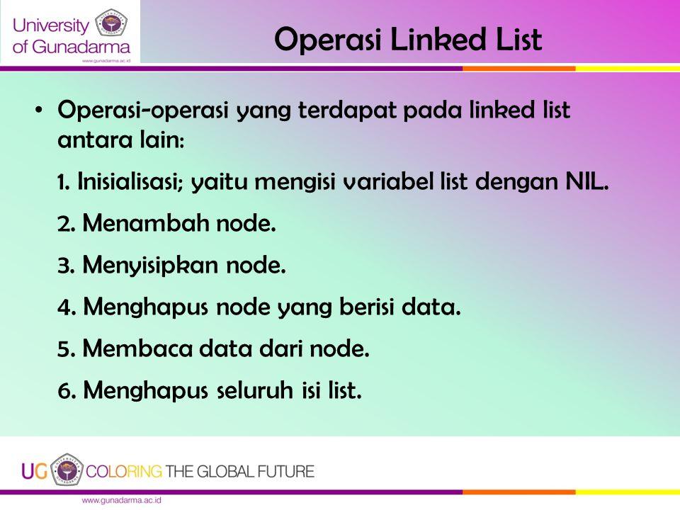 Operasi Linked List Operasi-operasi yang terdapat pada linked list antara lain: 1. Inisialisasi; yaitu mengisi variabel list dengan NIL. 2. Menambah n