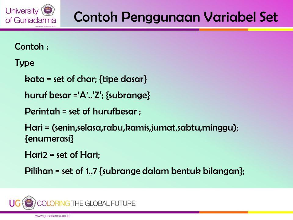 Contoh Penggunaan Variabel Set Contoh : Type kata = set of char; {tipe dasar} huruf besar ='A'..'Z'; {subrange} Perintah = set of hurufbesar ; Hari =