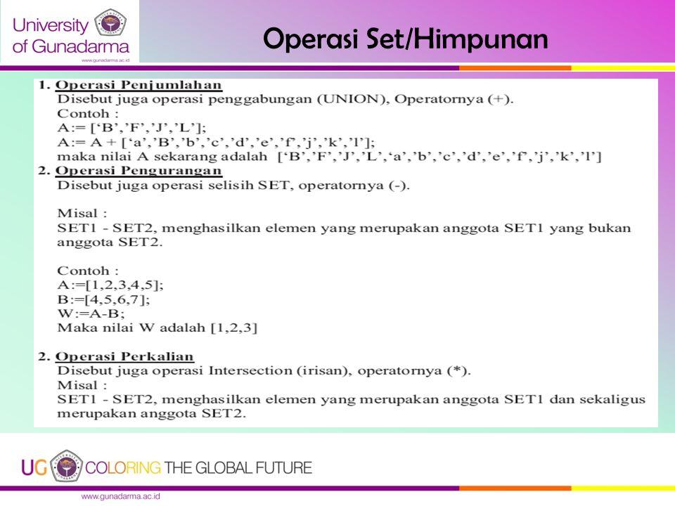 Operasi Set/Himpunan