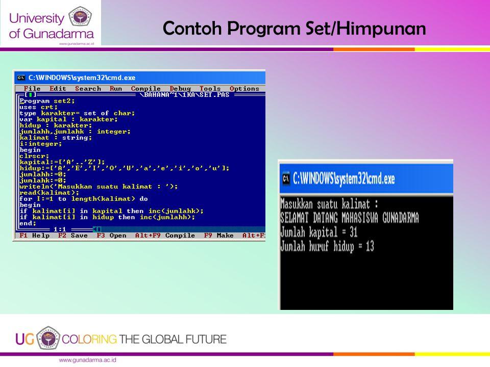 Contoh Program Set/Himpunan