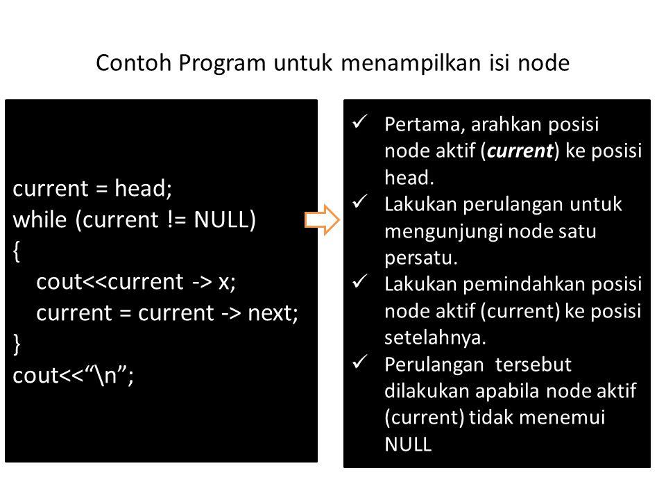 """Contoh Program untuk menampilkan isi node current = head; while (current != NULL) { cout x; current = current -> next; } cout<<""""\n""""; Pertama, arahkan"""
