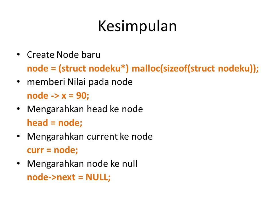 Kesimpulan Create Node baru node = (struct nodeku*) malloc(sizeof(struct nodeku)); memberi Nilai pada node node -> x = 90; Mengarahkan head ke node he