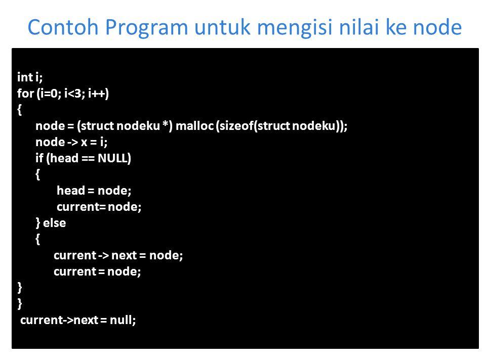 Contoh Program untuk mengisi nilai ke node int i; for (i=0; i<3; i++) { node = (struct nodeku *) malloc (sizeof(struct nodeku)); node -> x = i; if (he