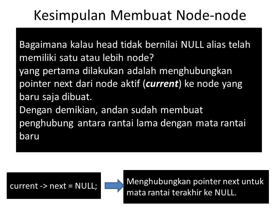Contoh Program untuk menampilkan isi node current = head; while (current != NULL) { cout x; current = current -> next; } cout<< \n ; Pertama, arahkan posisi node aktif (current) ke posisi head.