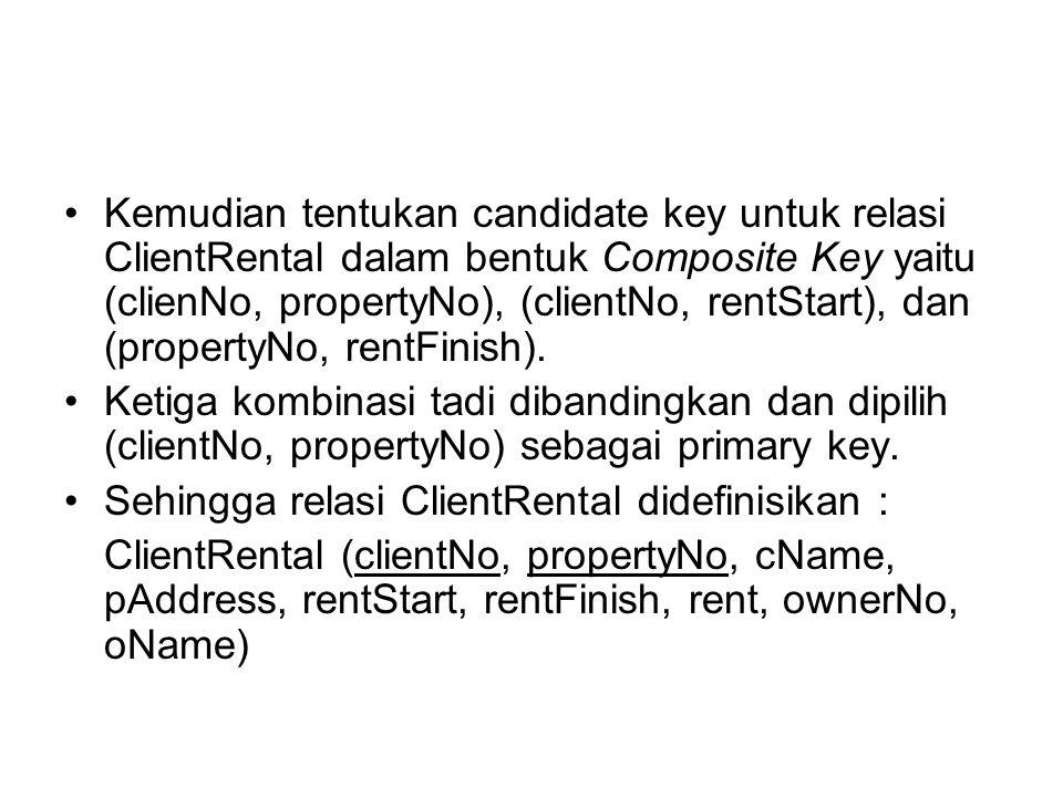 Kemudian tentukan candidate key untuk relasi ClientRental dalam bentuk Composite Key yaitu (clienNo, propertyNo), (clientNo, rentStart), dan (property