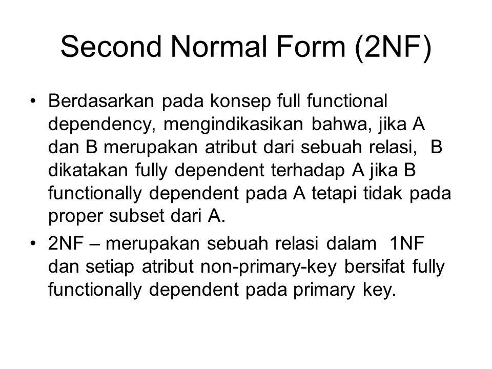 Second Normal Form (2NF) Berdasarkan pada konsep full functional dependency, mengindikasikan bahwa, jika A dan B merupakan atribut dari sebuah relasi,
