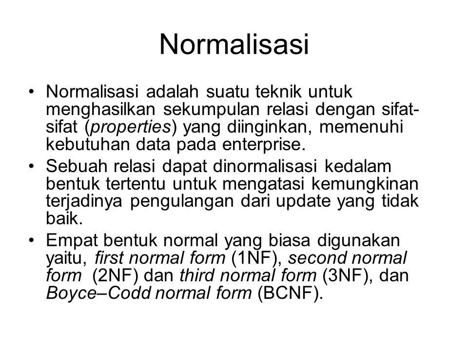 Normalisasi Normalisasi adalah suatu teknik untuk menghasilkan sekumpulan relasi dengan sifat- sifat (properties) yang diinginkan, memenuhi kebutuhan