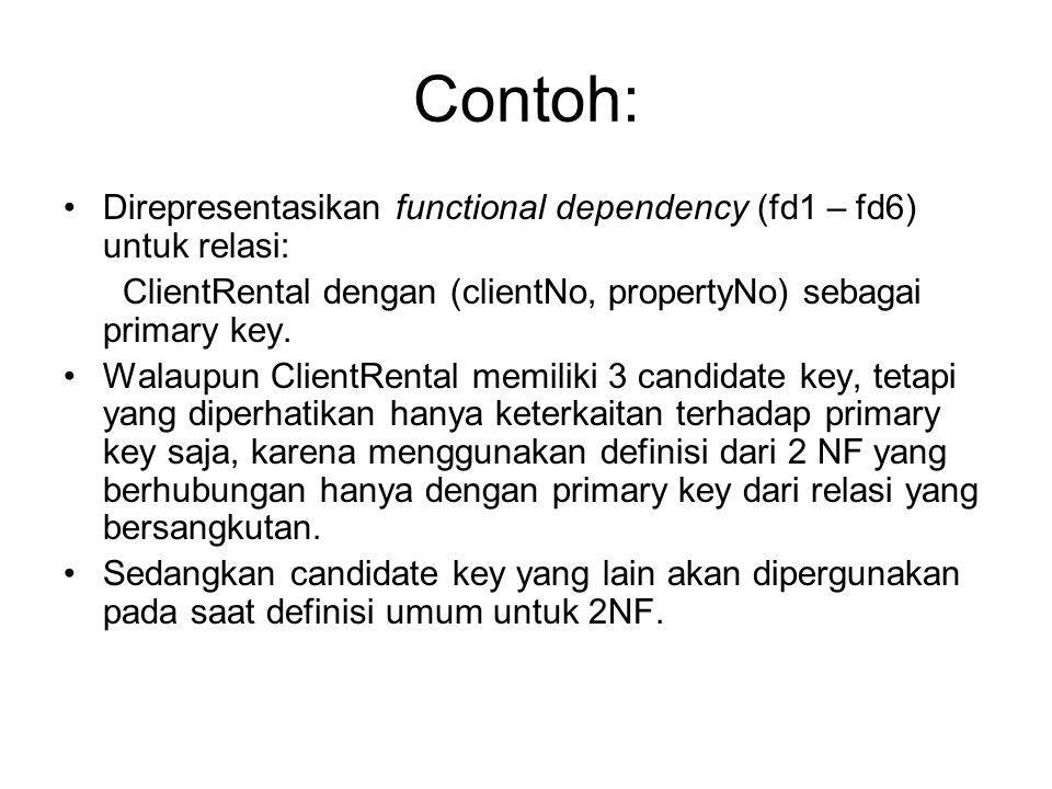 Contoh: Direpresentasikan functional dependency (fd1 – fd6) untuk relasi: ClientRental dengan (clientNo, propertyNo) sebagai primary key. Walaupun Cli