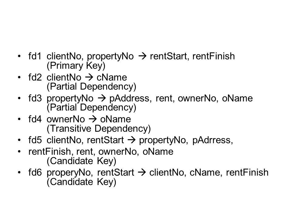 fd1clientNo, propertyNo  rentStart, rentFinish (Primary Key) fd2clientNo  cName (Partial Dependency) fd3propertyNo  pAddress, rent, ownerNo, oName