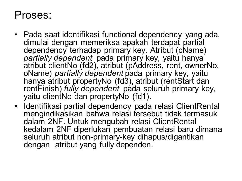 Proses: Pada saat identifikasi functional dependency yang ada, dimulai dengan memeriksa apakah terdapat partial dependency terhadap primary key. Atrib
