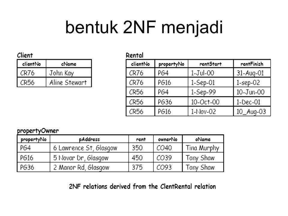 bentuk 2NF menjadi