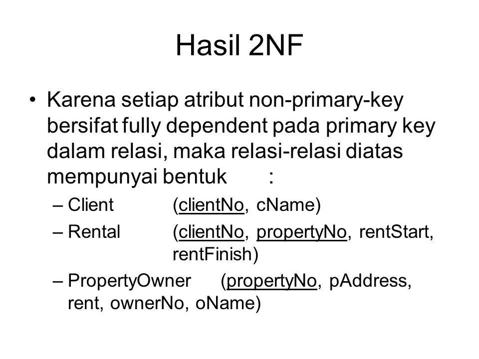 Hasil 2NF Karena setiap atribut non-primary-key bersifat fully dependent pada primary key dalam relasi, maka relasi-relasi diatas mempunyai bentuk: –C