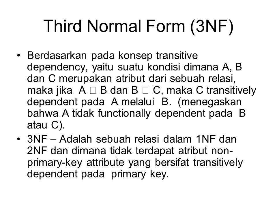 Third Normal Form (3NF) Berdasarkan pada konsep transitive dependency, yaitu suatu kondisi dimana A, B dan C merupakan atribut dari sebuah relasi, mak