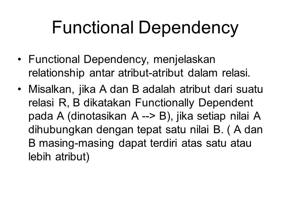 Functional Dependency Functional Dependency, menjelaskan relationship antar atribut-atribut dalam relasi. Misalkan, jika A dan B adalah atribut dari s