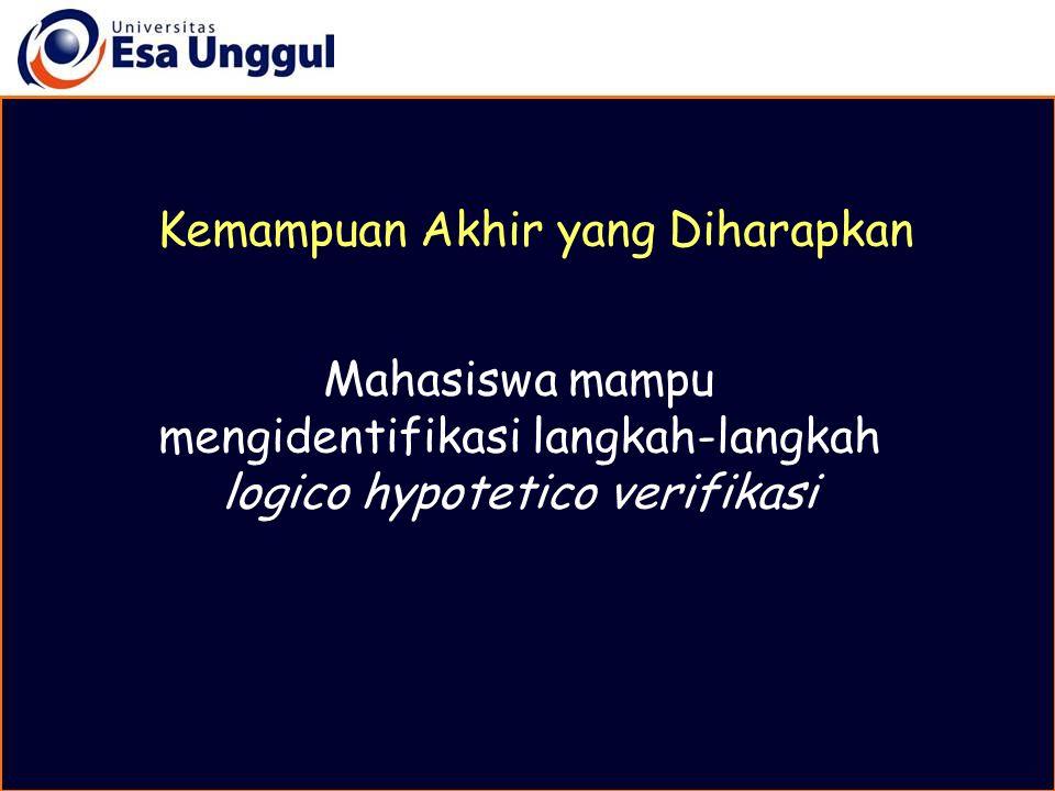 Logico Hypotetico Verifikasi adalah cara mendapatkan pengetahuan dengan langkah- langkah tertentu yang terdiri dari : 1.