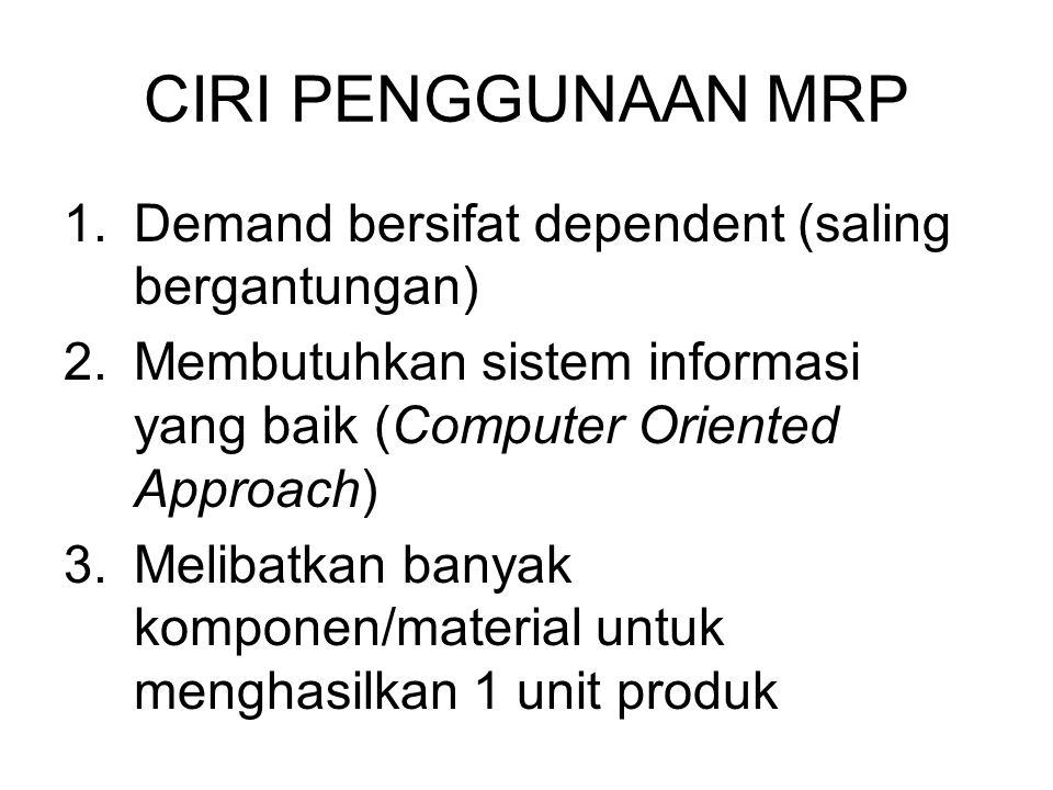 CIRI PENGGUNAAN MRP 1.Demand bersifat dependent (saling bergantungan) 2.Membutuhkan sistem informasi yang baik (Computer Oriented Approach) 3.Melibatk
