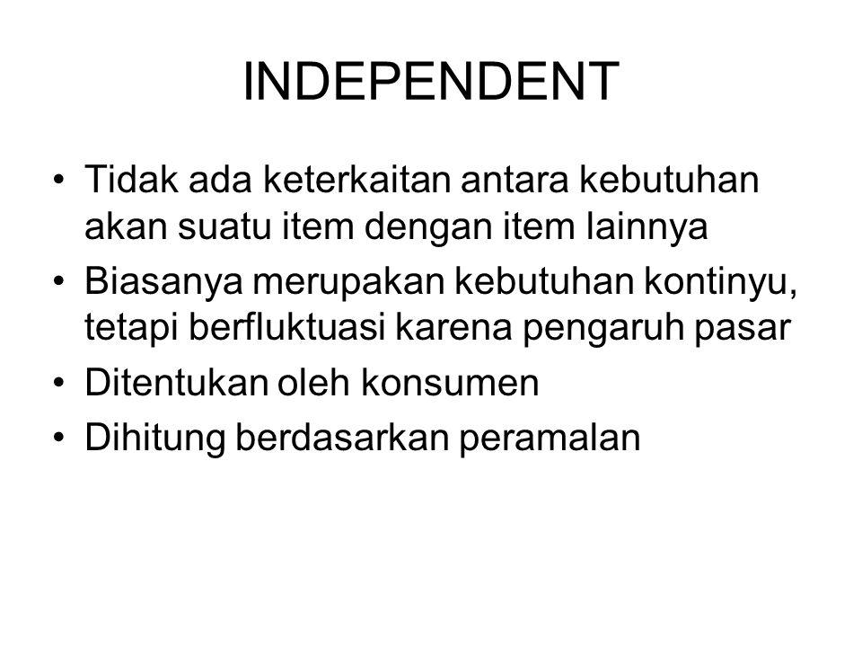 INDEPENDENT Tidak ada keterkaitan antara kebutuhan akan suatu item dengan item lainnya Biasanya merupakan kebutuhan kontinyu, tetapi berfluktuasi kare