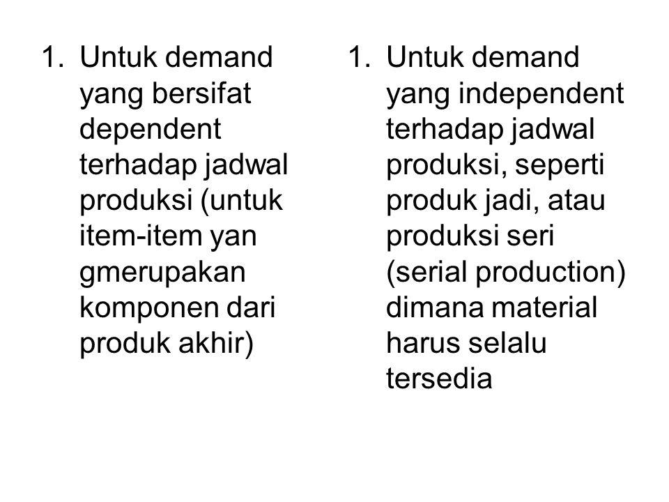 1.Untuk demand yang bersifat dependent terhadap jadwal produksi (untuk item-item yan gmerupakan komponen dari produk akhir) 1.Untuk demand yang indepe