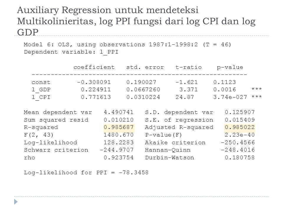 Auxiliary Regression untuk mendeteksi Multikolinieritas, log PPI fungsi dari log CPI dan log GDP Model 6: OLS, using observations 1987:1-1998:2 (T = 46) Dependent variable: l_PPI coefficient std.