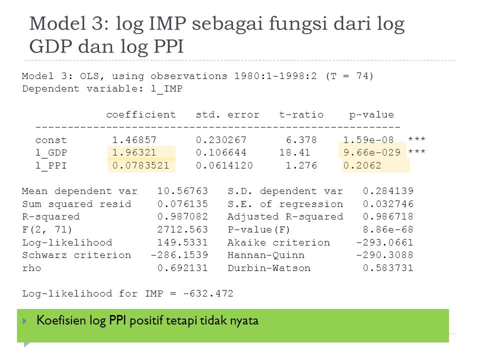 Model 3: log IMP sebagai fungsi dari log GDP dan log PPI  Koefisien log PPI positif tetapi tidak nyata Model 3: OLS, using observations 1980:1-1998:2 (T = 74) Dependent variable: l_IMP coefficient std.