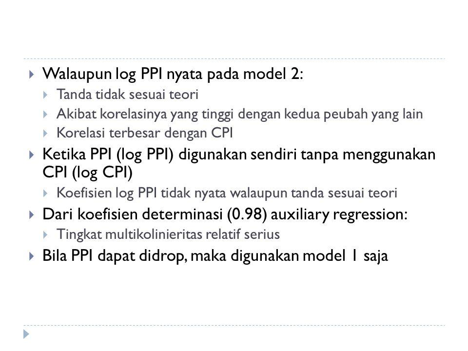  Walaupun log PPI nyata pada model 2:  Tanda tidak sesuai teori  Akibat korelasinya yang tinggi dengan kedua peubah yang lain  Korelasi terbesar dengan CPI  Ketika PPI (log PPI) digunakan sendiri tanpa menggunakan CPI (log CPI)  Koefisien log PPI tidak nyata walaupun tanda sesuai teori  Dari koefisien determinasi (0.98) auxiliary regression:  Tingkat multikolinieritas relatif serius  Bila PPI dapat didrop, maka digunakan model 1 saja