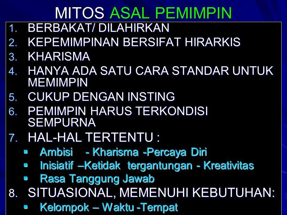 MITOS ASAL PEMIMPIN 1. BERBAKAT/ DILAHIRKAN 2. KEPEMIMPINAN BERSIFAT HIRARKIS 3. KHARISMA 4. HANYA ADA SATU CARA STANDAR UNTUK MEMIMPIN 5. CUKUP DENGA