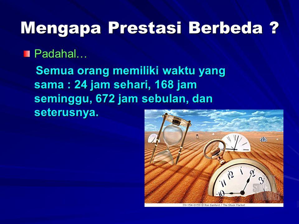 Mengapa Prestasi Berbeda ? Padahal… Semua orang memiliki waktu yang sama : 24 jam sehari, 168 jam seminggu, 672 jam sebulan, dan seterusnya. Semua ora