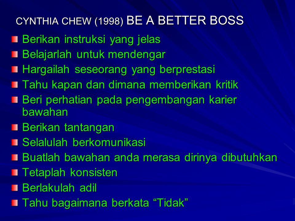 CYNTHIA CHEW (1998) BE A BETTER BOSS Berikan instruksi yang jelas Belajarlah untuk mendengar Hargailah seseorang yang berprestasi Tahu kapan dan diman