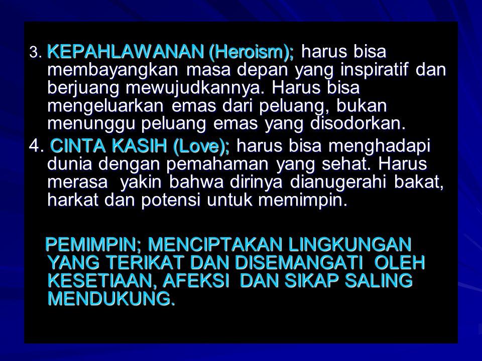 3. KEPAHLAWANAN (Heroism); harus bisa membayangkan masa depan yang inspiratif dan berjuang mewujudkannya. Harus bisa mengeluarkan emas dari peluang, b