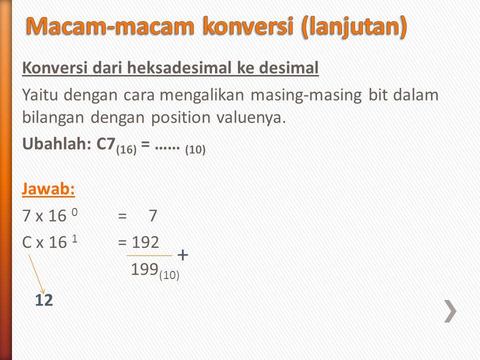 Konversi dari heksadesimal ke desimal Yaitu dengan cara mengalikan masing-masing bit dalam bilangan dengan position valuenya. Ubahlah: C7 (16) = …… (1