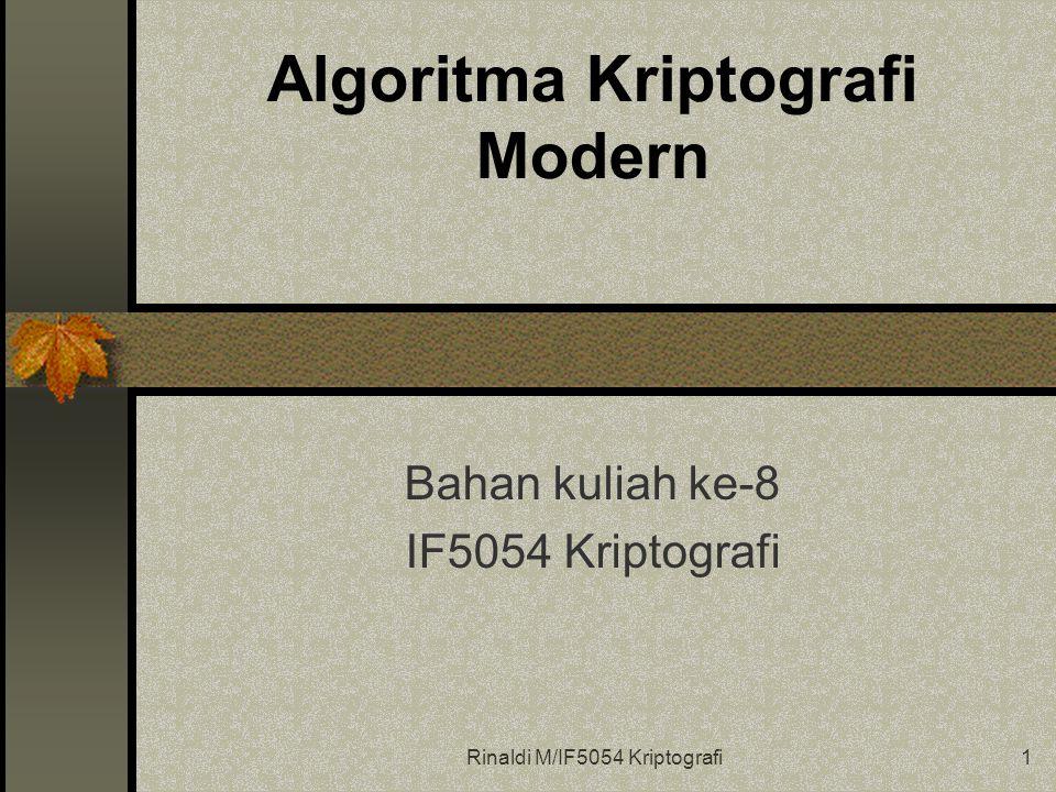 Rinaldi M/IF5054 Kriptografi1 Algoritma Kriptografi Modern Bahan kuliah ke-8 IF5054 Kriptografi