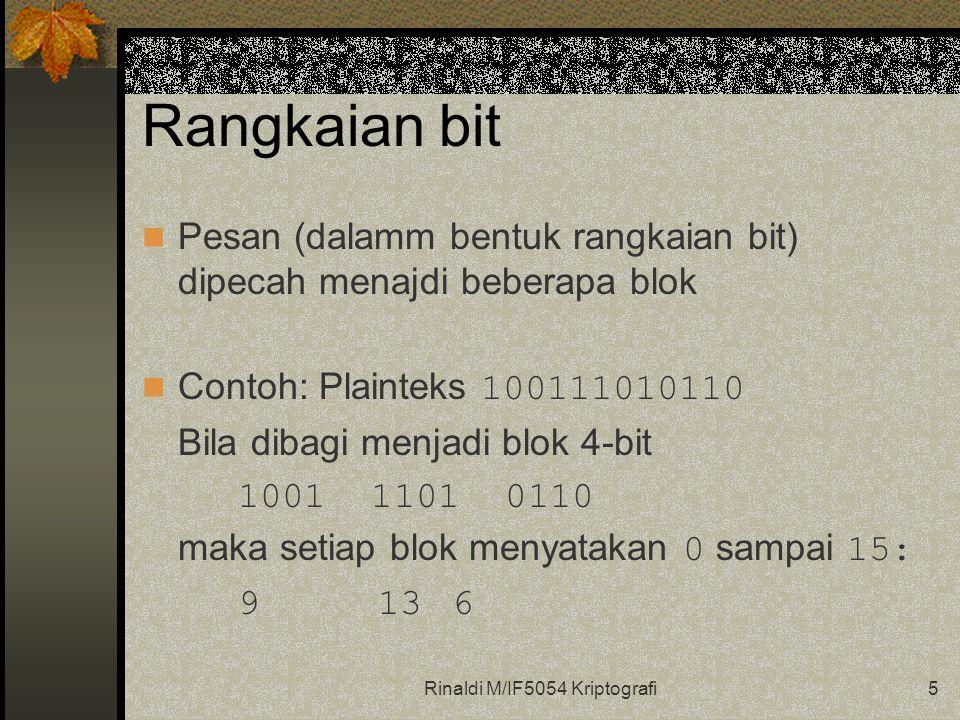 Rinaldi M/IF5054 Kriptografi5 Rangkaian bit Pesan (dalamm bentuk rangkaian bit) dipecah menajdi beberapa blok Contoh: Plainteks 100111010110 Bila diba