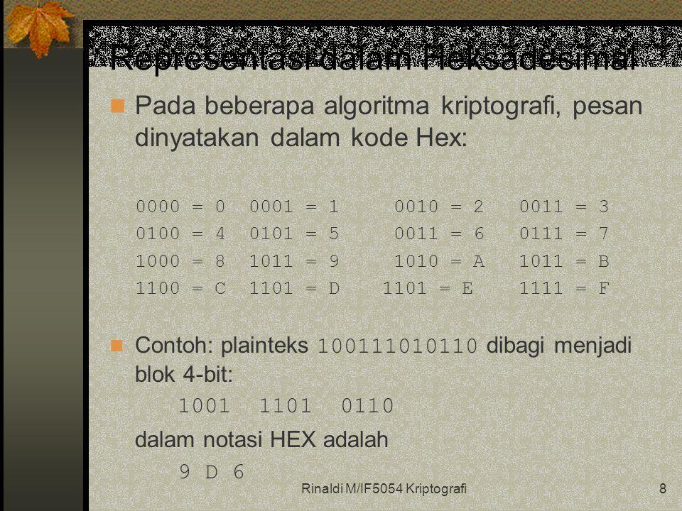 Rinaldi M/IF5054 Kriptografi8 Representasi dalam Heksadesimal Pada beberapa algoritma kriptografi, pesan dinyatakan dalam kode Hex: 0000 = 0 0001 = 1